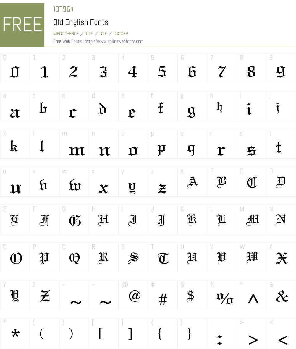 Old English Font Screenshots
