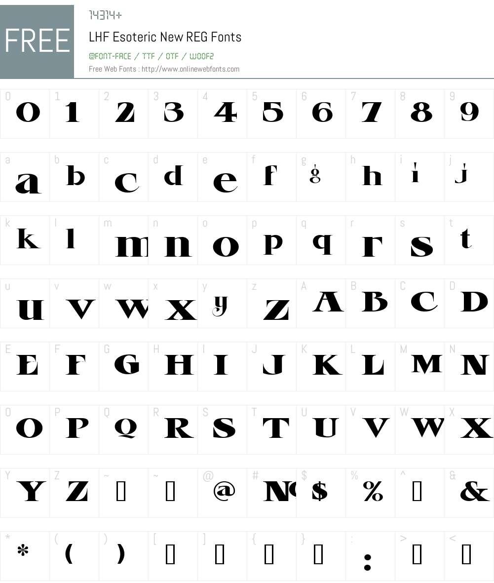 LHF Esoteric New REG Font Screenshots