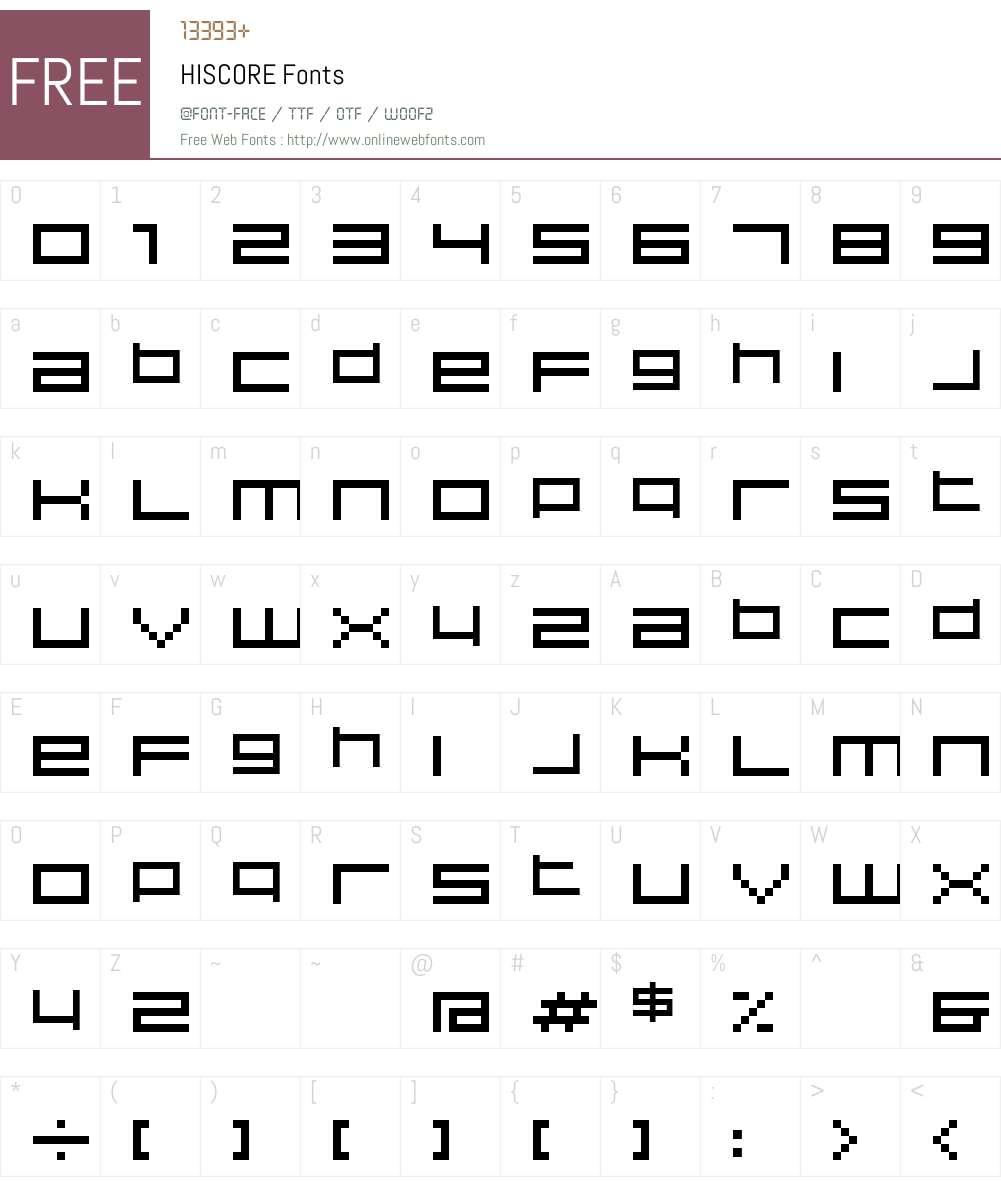 HISCORE Font Screenshots