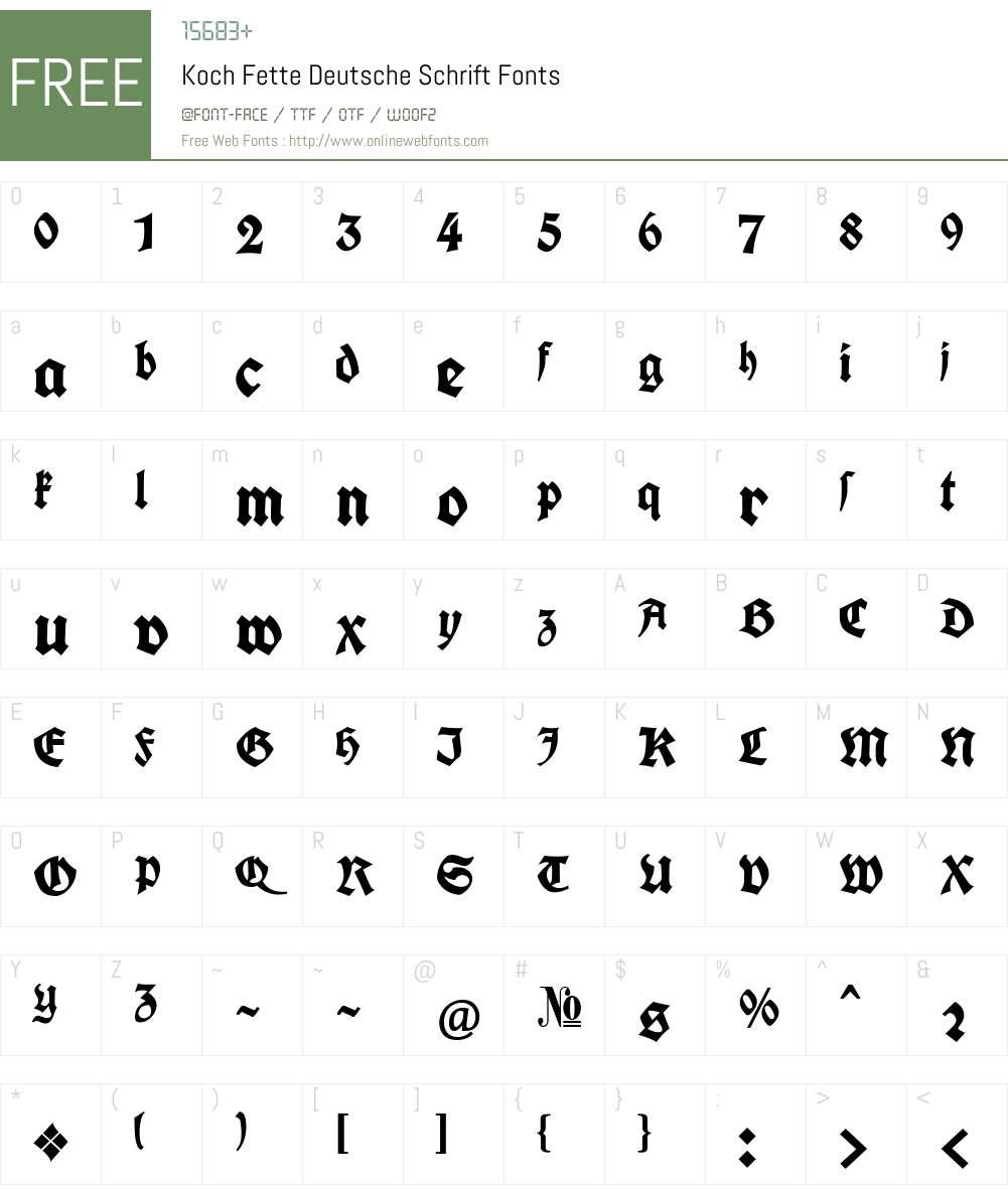 Koch Fette Deutsche Schrift Font Screenshots