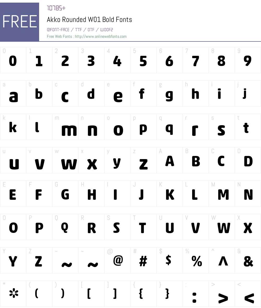 AkkoRoundedW01-Bold Font Screenshots