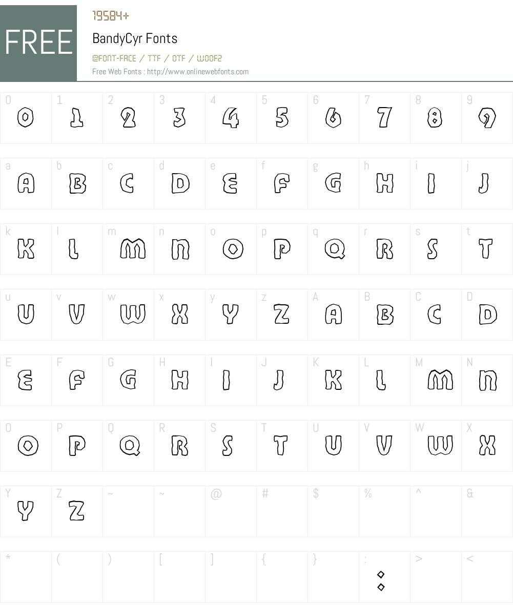 BandyCyr Font Screenshots