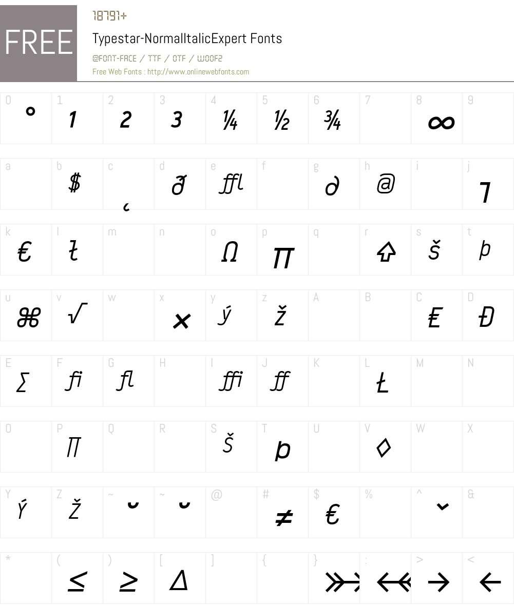 Typestar Font Screenshots