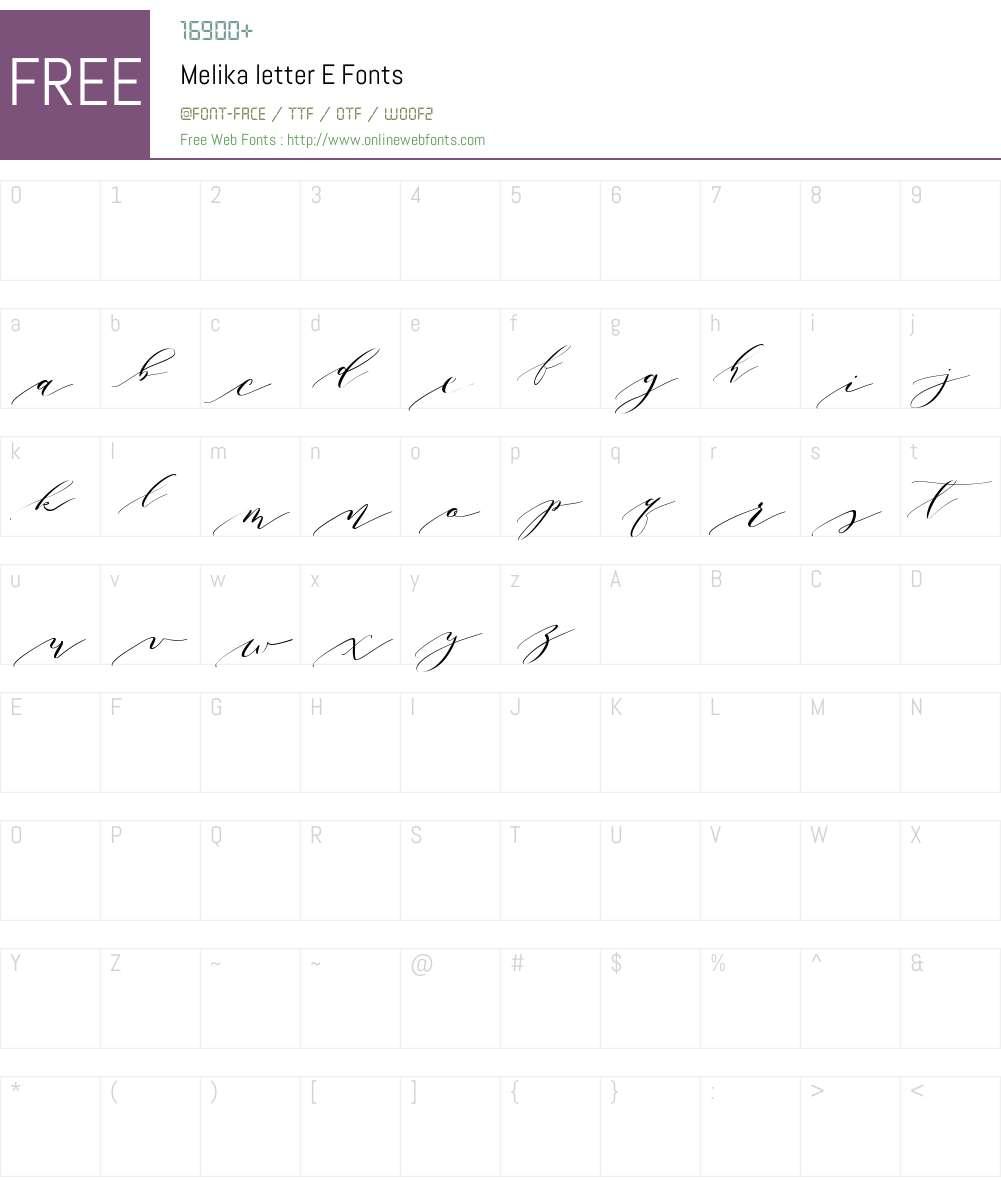 Melika letter E Font Screenshots