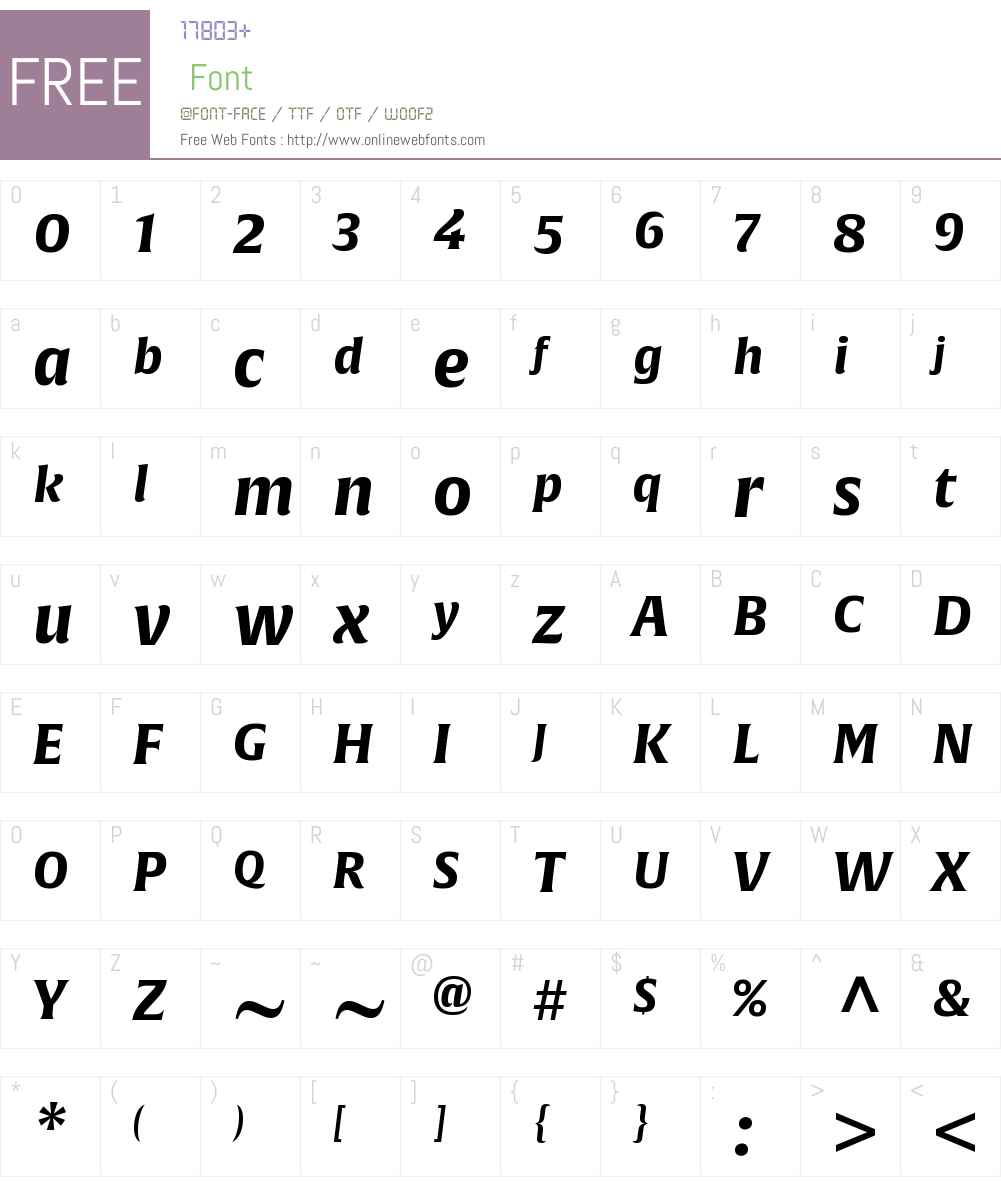 AlverataW01-BoldItalic Font Screenshots