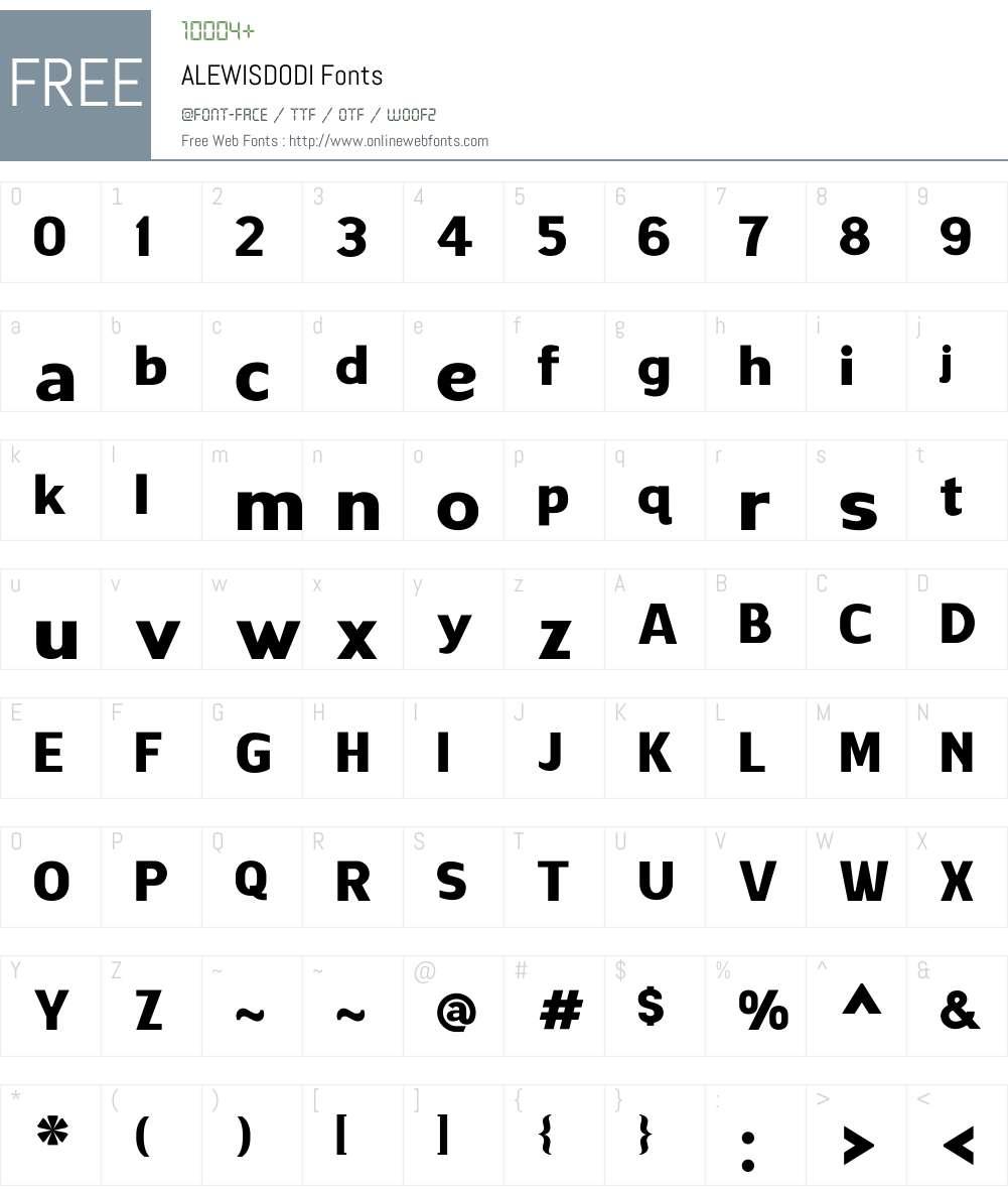 ALEWISDODI Font Screenshots