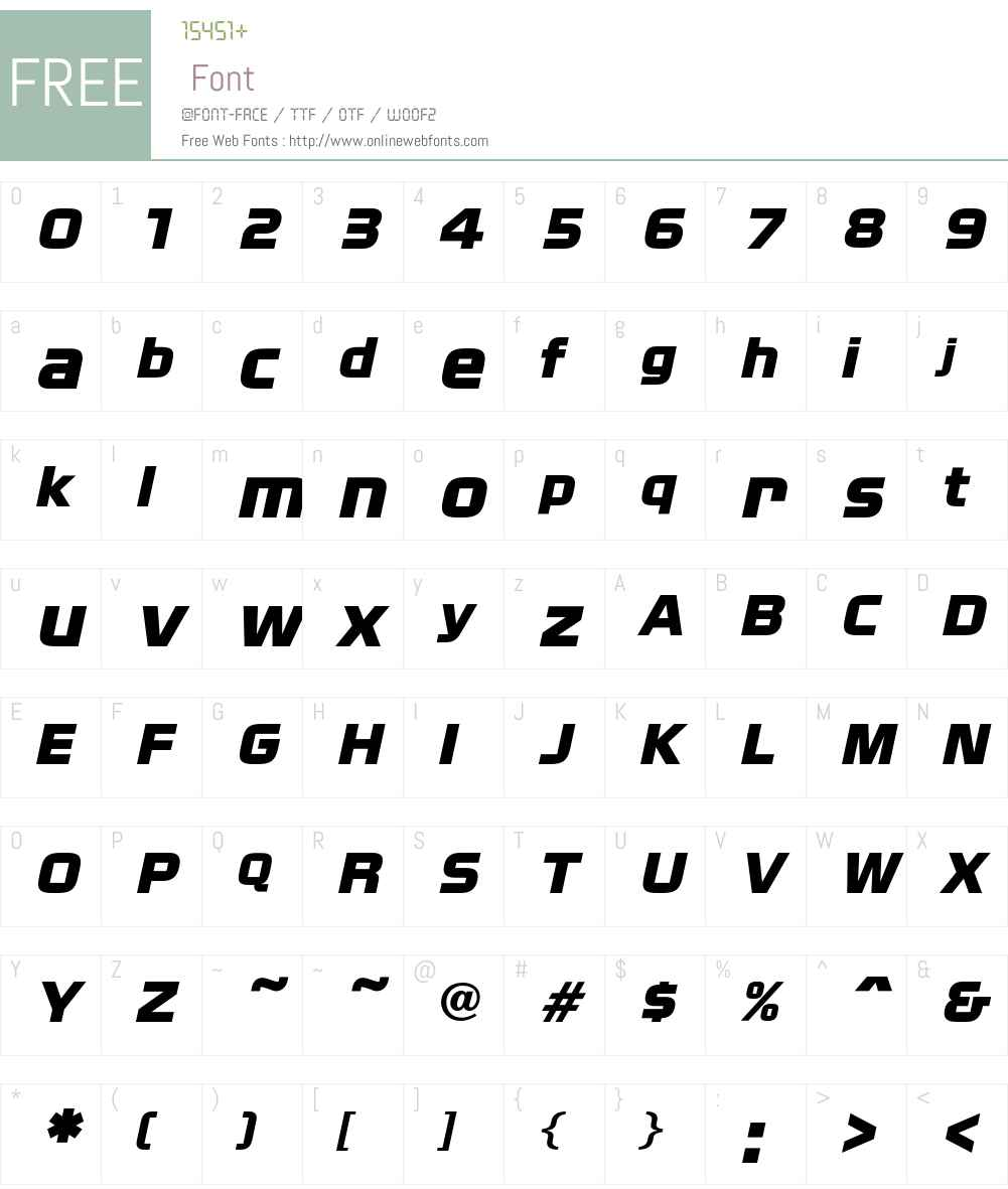 NissanOpti Font Screenshots