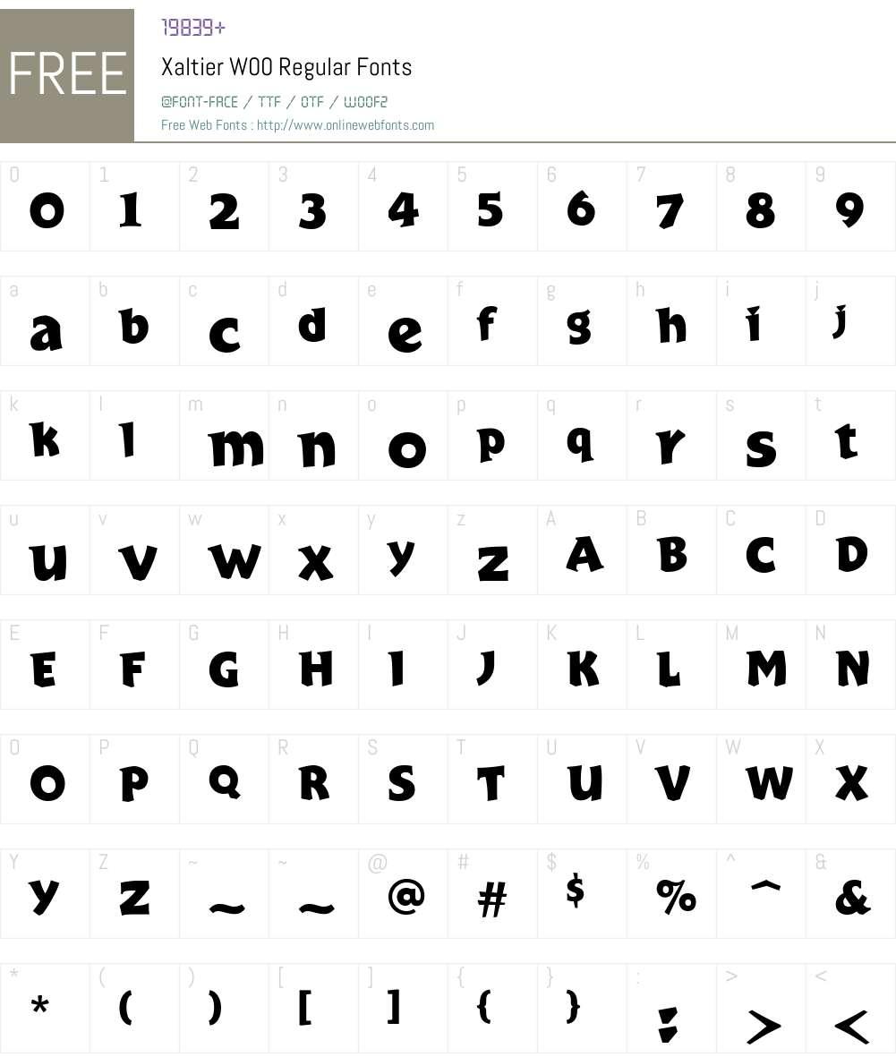 XaltierW00-Regular Font Screenshots