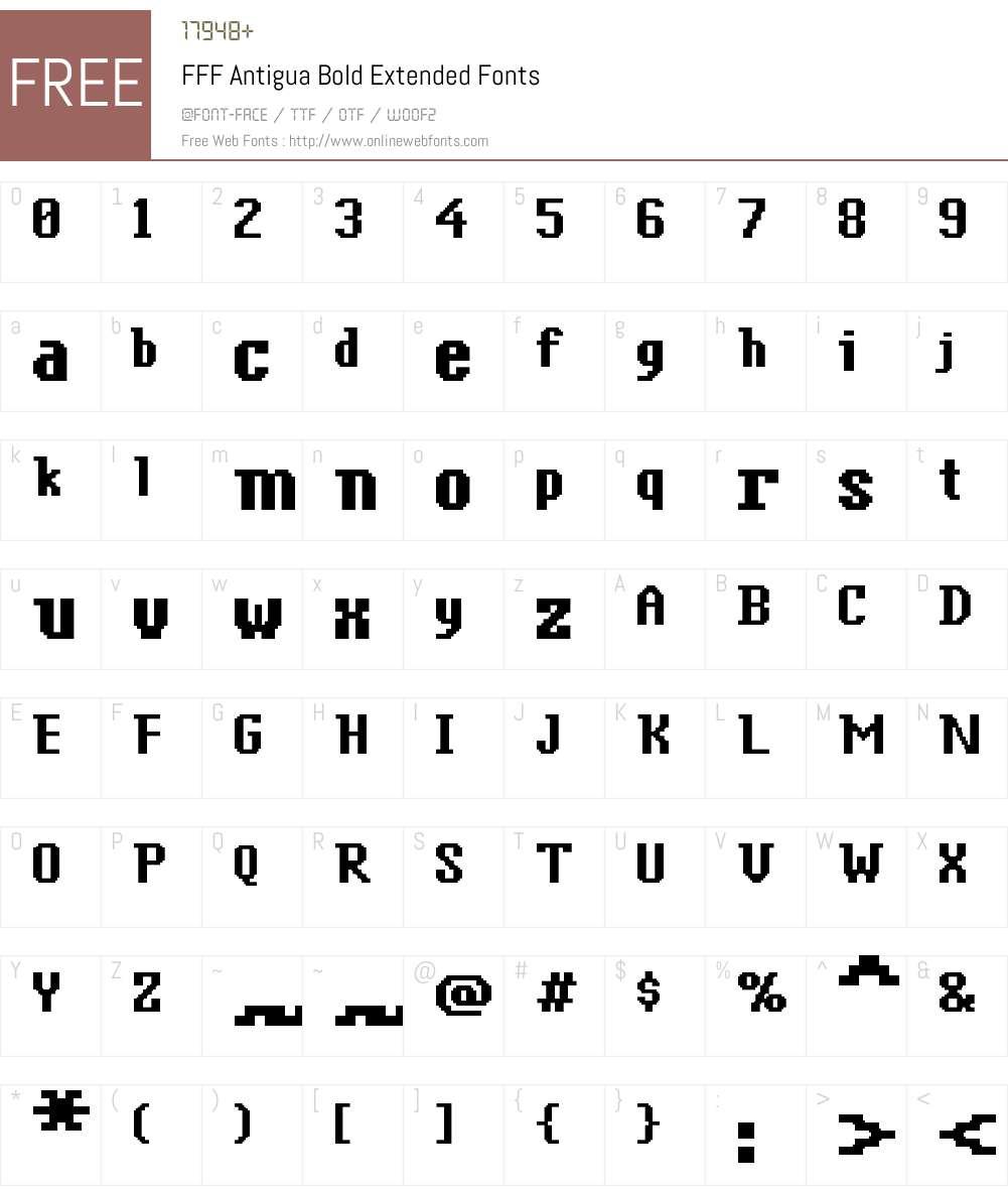 FFF Antigua Bold Extended Font Screenshots