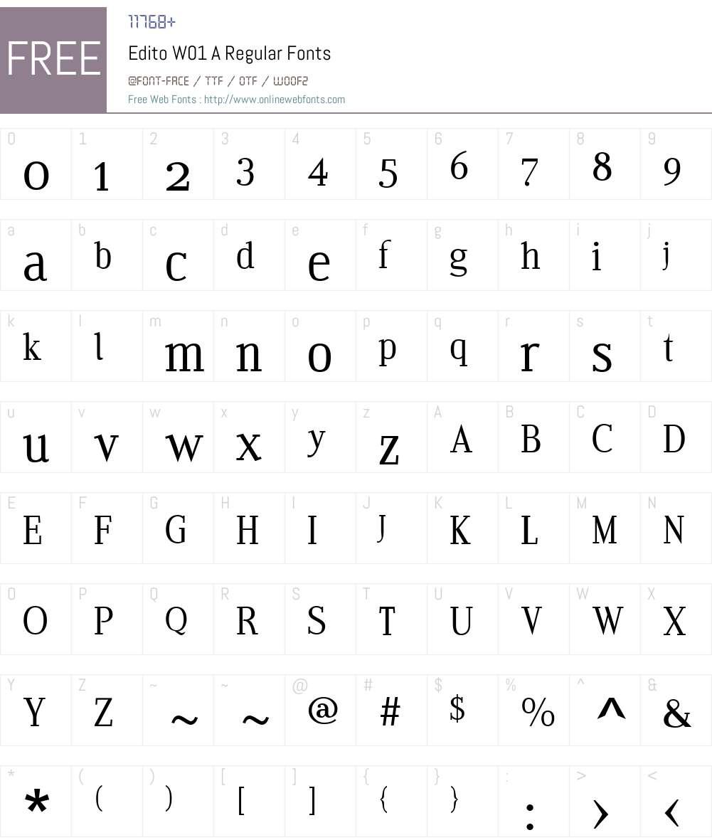 EditoW01-ARegular Font Screenshots