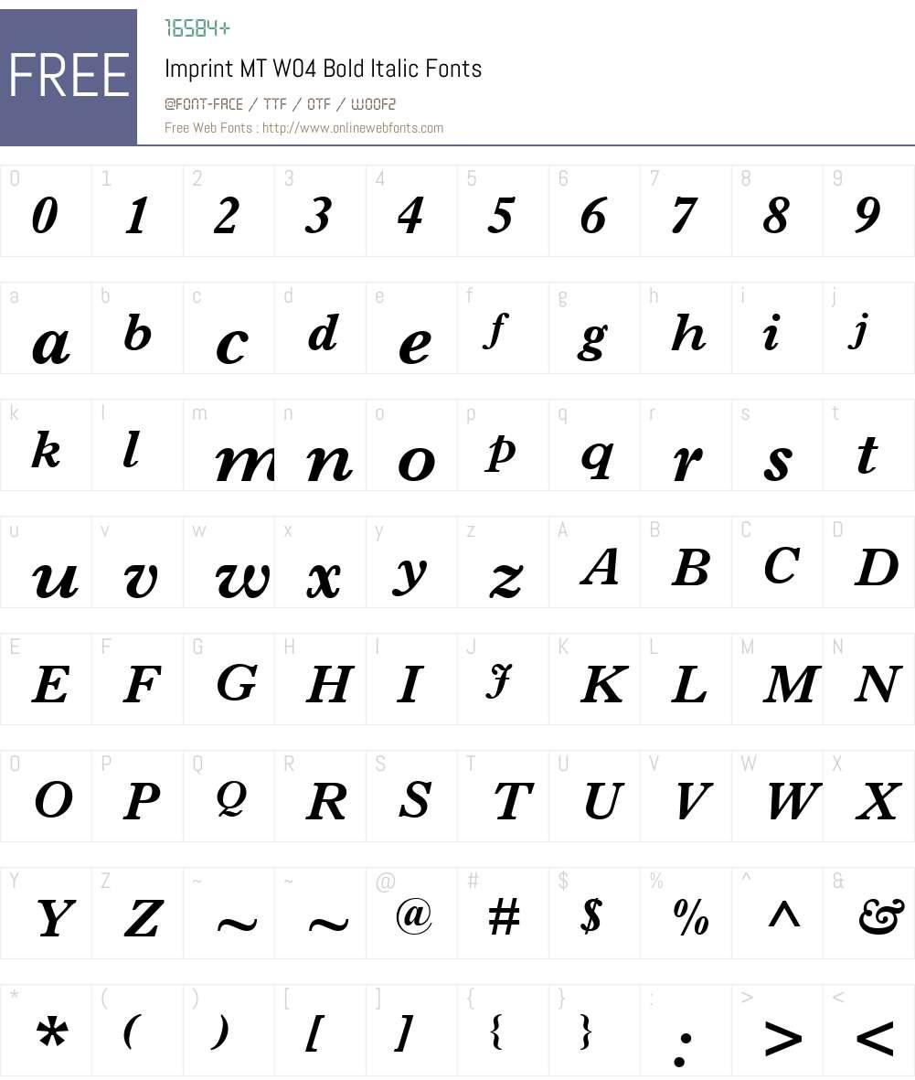 Imprint Font Screenshots