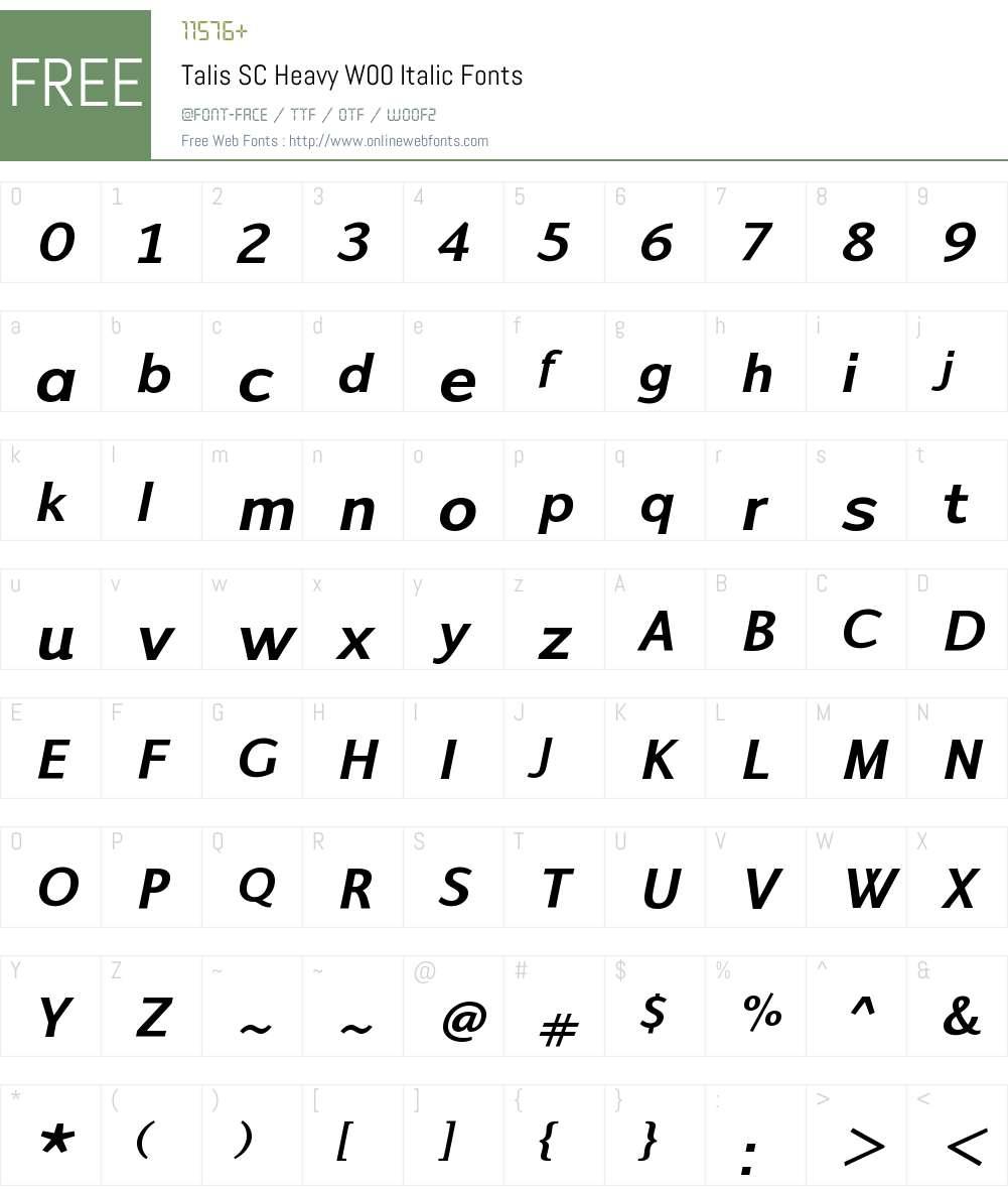 TalisSCHeavyW00-Italic Font Screenshots