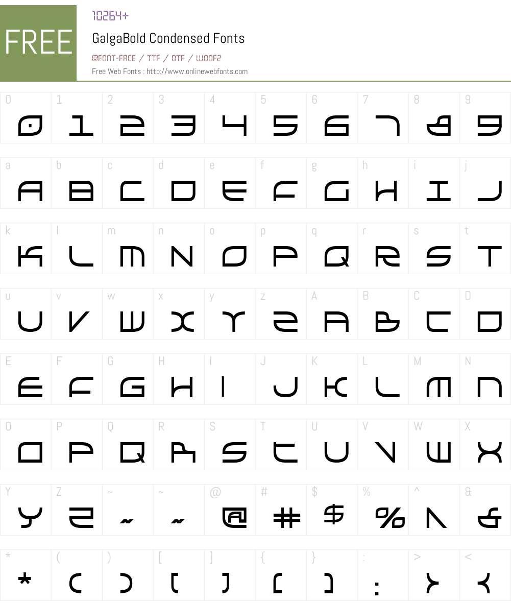 Galga Bold Condensed Font Screenshots