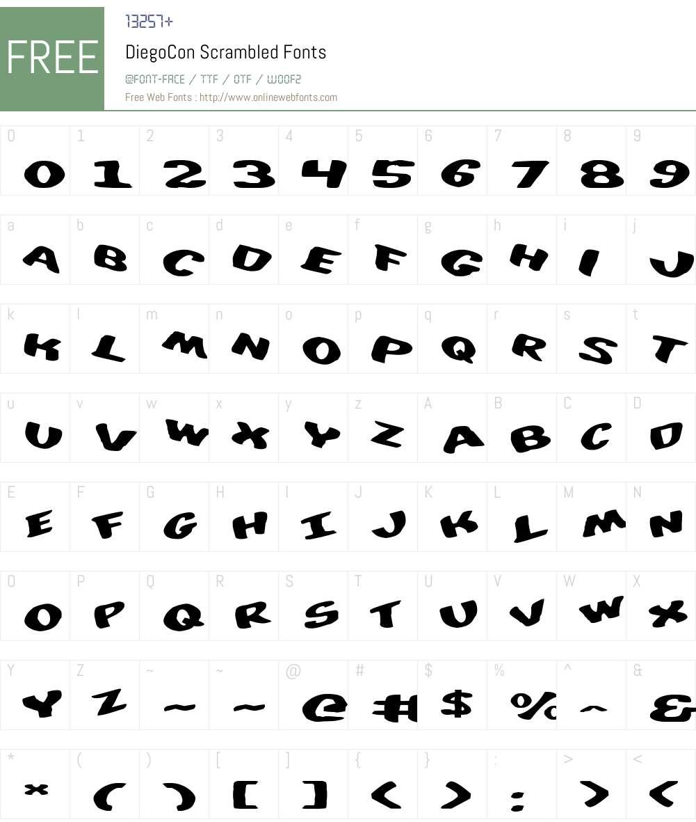 DiegoCon Scrambled Font Screenshots