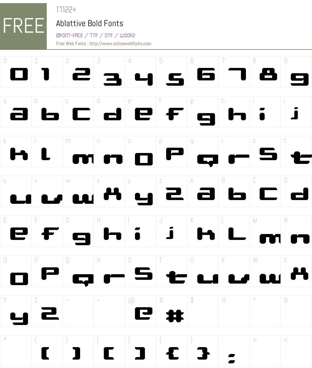Ablattive Font Screenshots