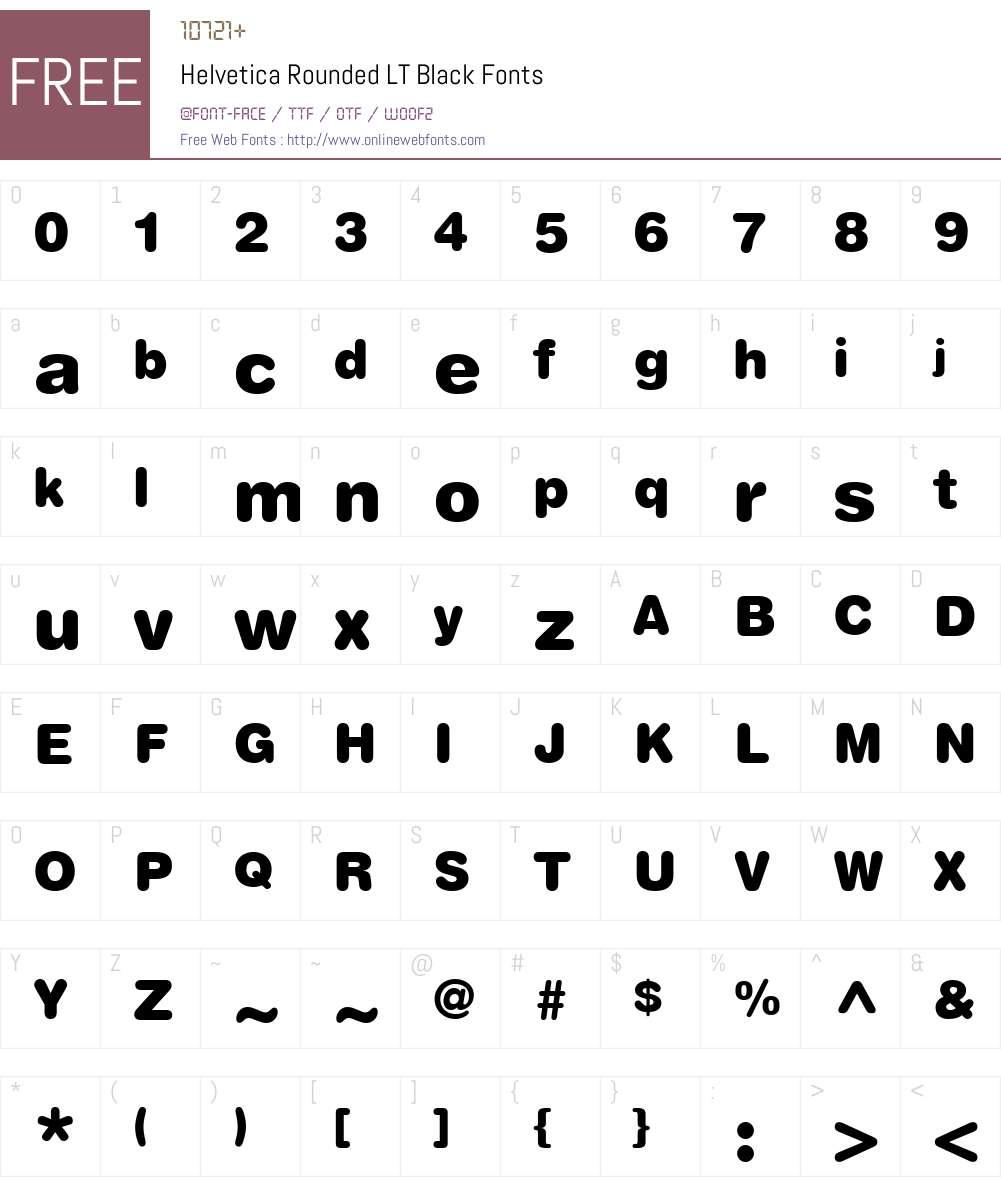 HelveticaRounded LT Bold Font Screenshots