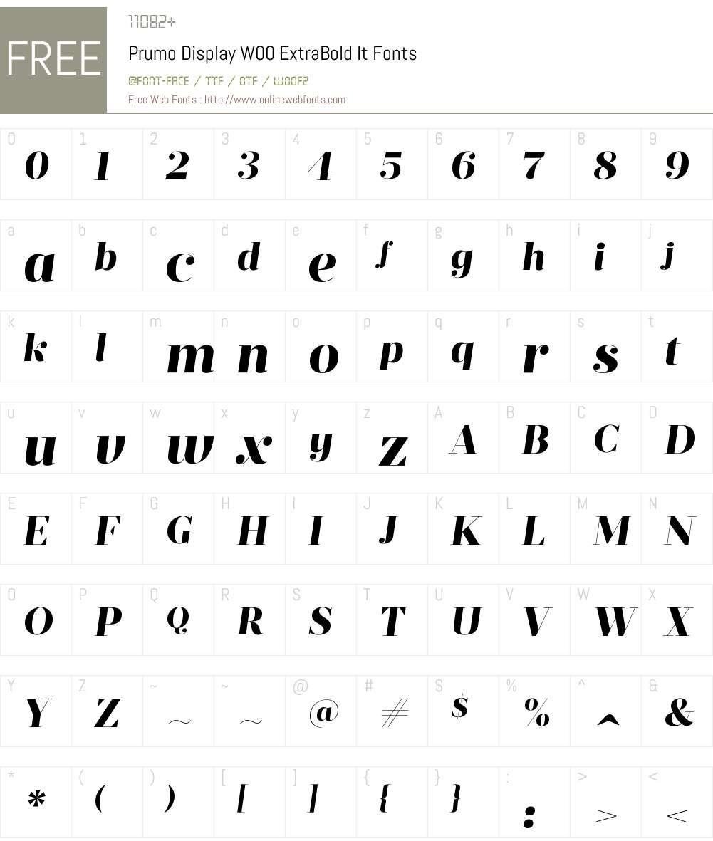 PrumoDisplayW00-ExtraBoldIt Font Screenshots