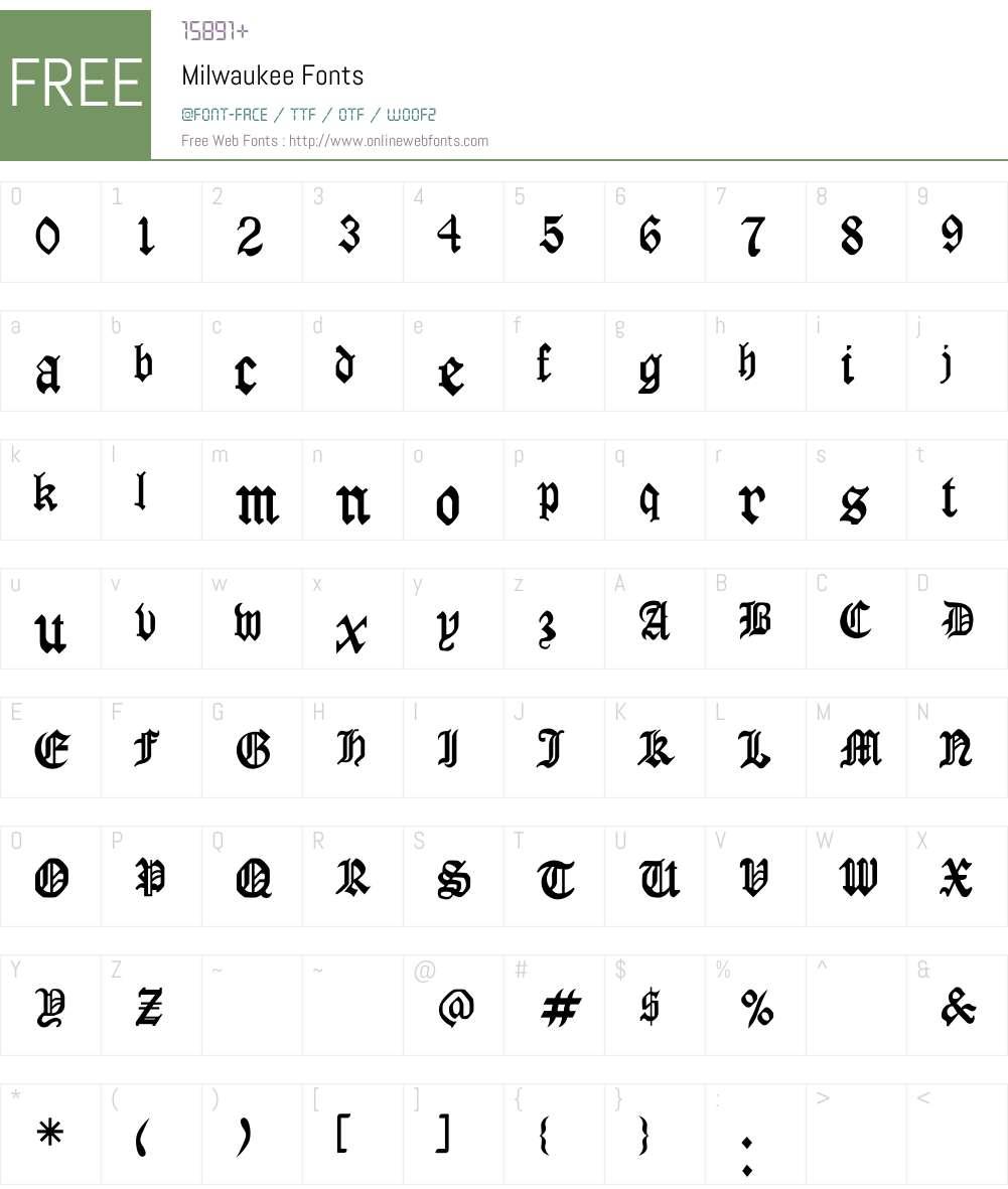 Milwaukee Font Screenshots