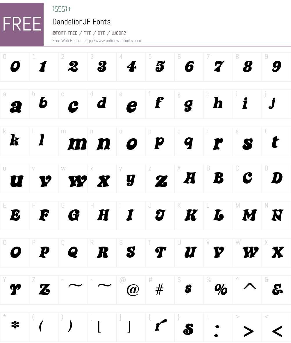 DandelionJF Font Screenshots