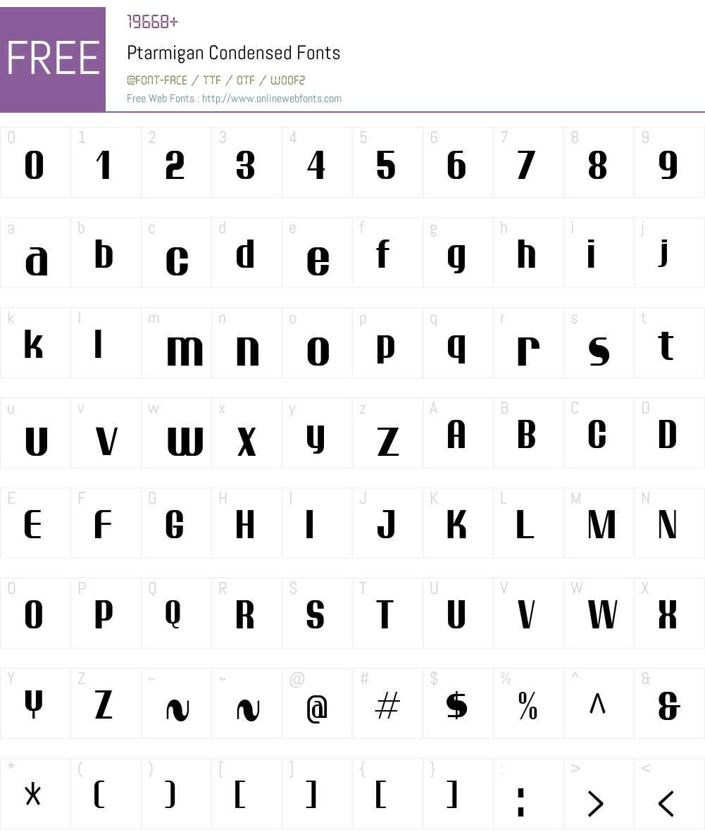 Ptarmigan Condensed Font Screenshots