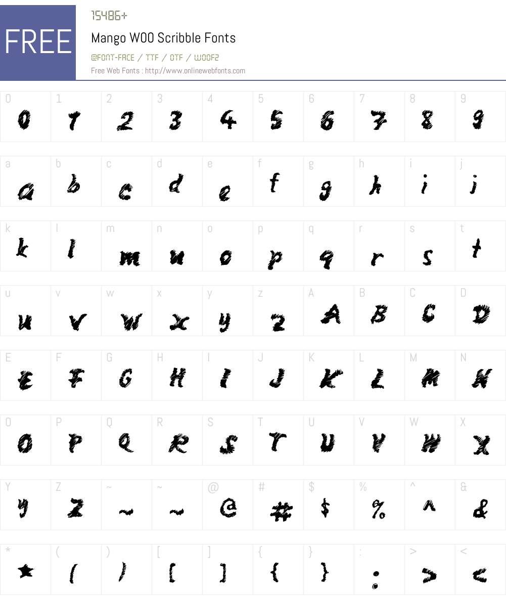 MangoW00-Scribble Font Screenshots