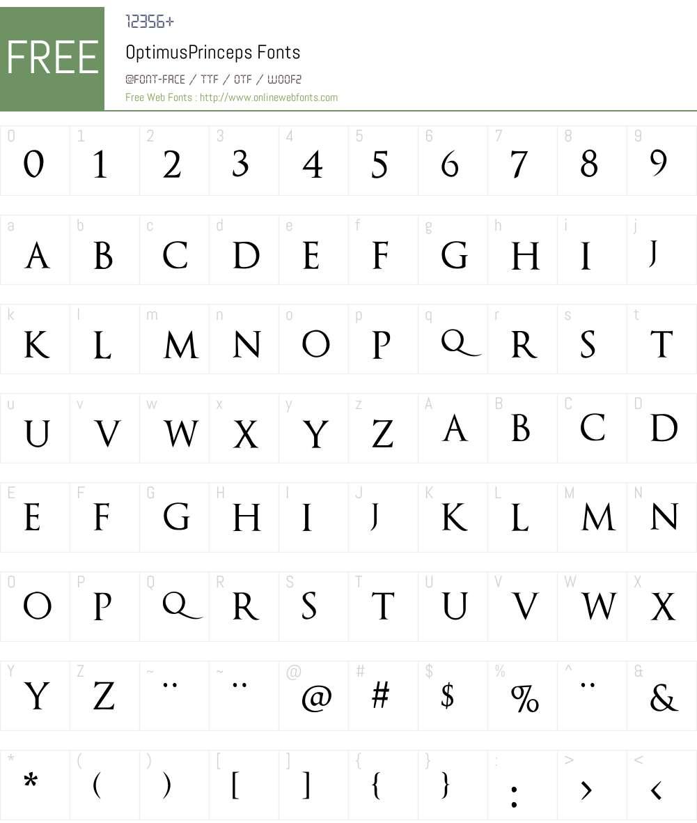 OptimusPrinceps Font Screenshots