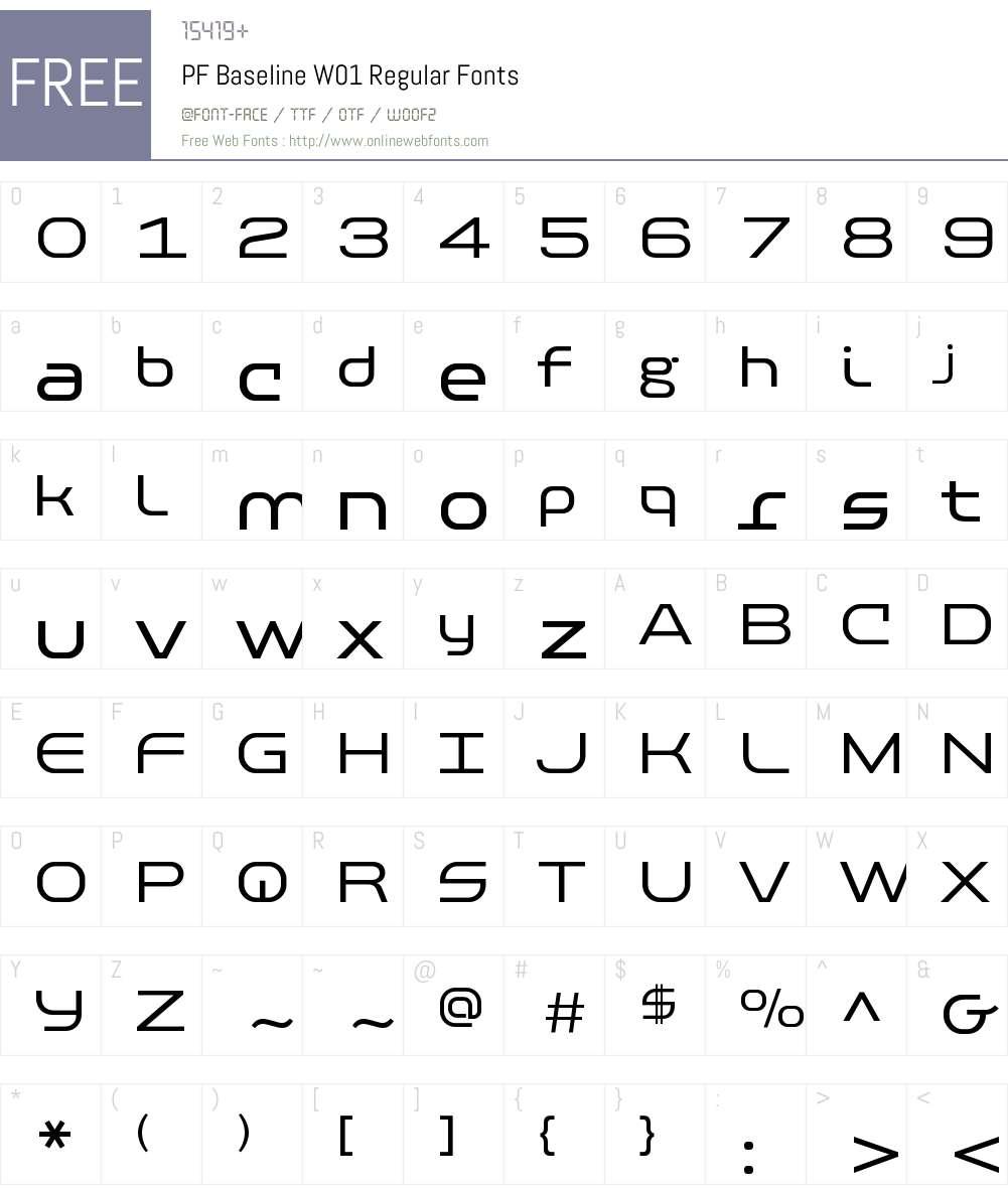 PFBaselineW01-Regular Font Screenshots