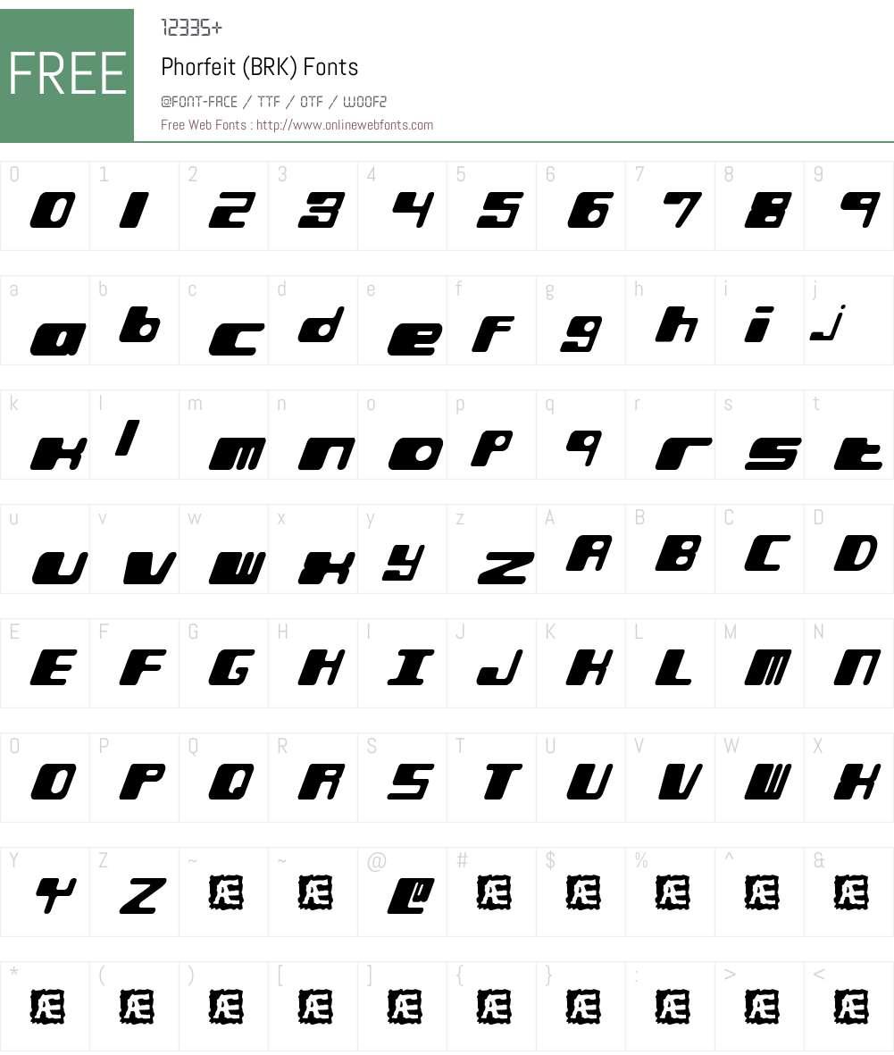 Phorfeit (BRK) Font Screenshots