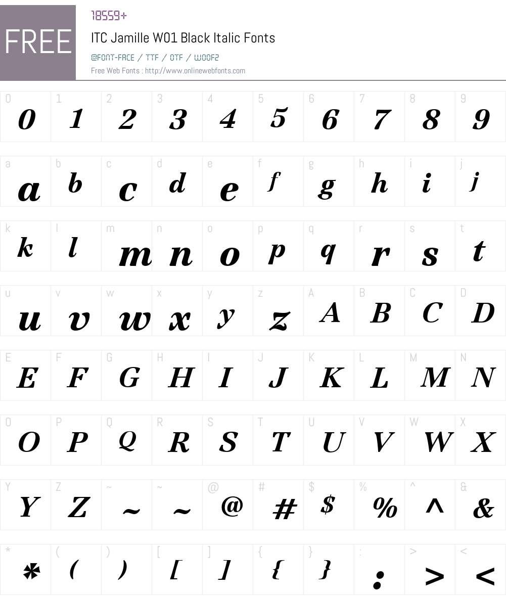 ITCJamilleW01-BlackItalic Font Screenshots