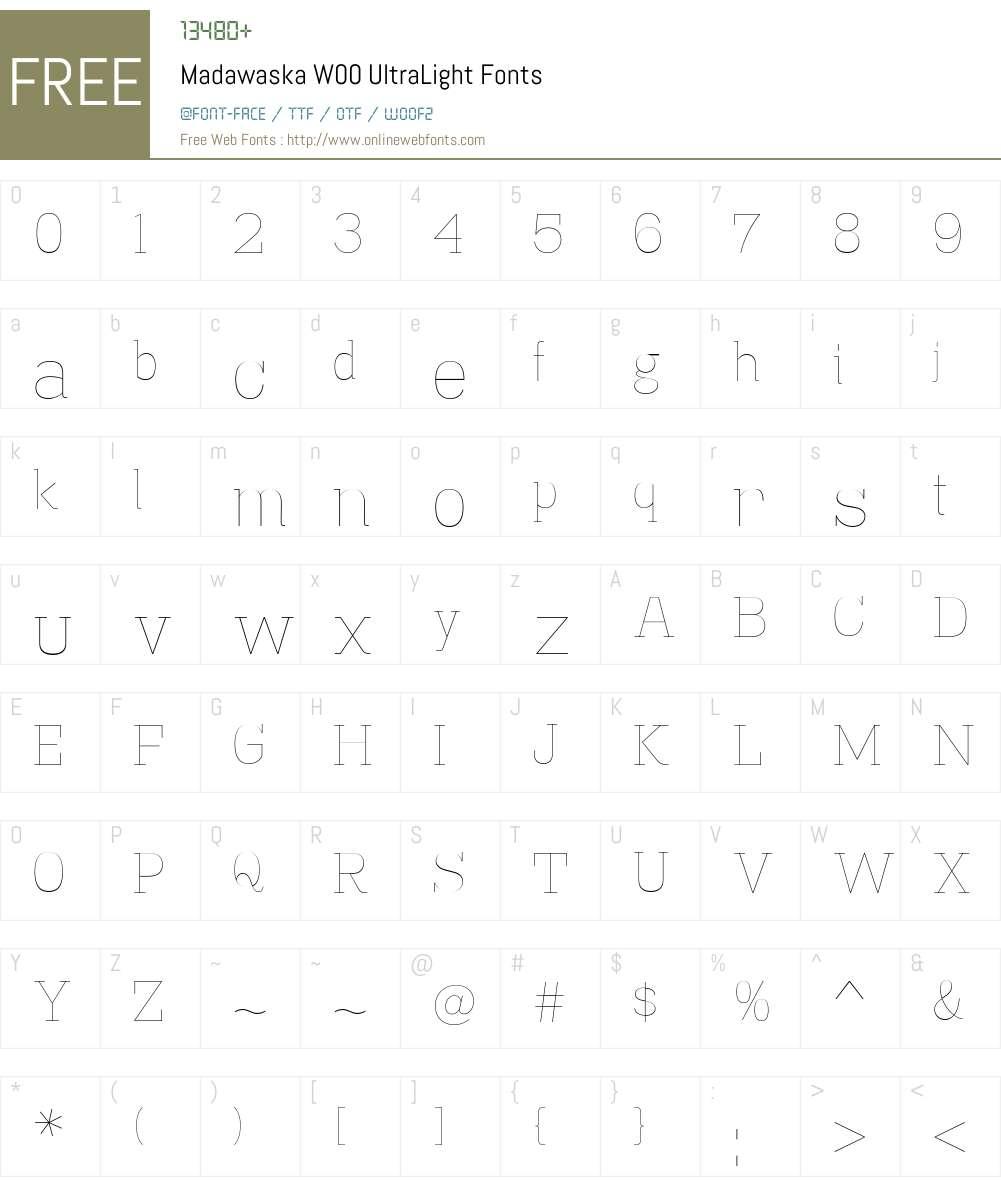 MadawaskaW00-UltraLight Font Screenshots