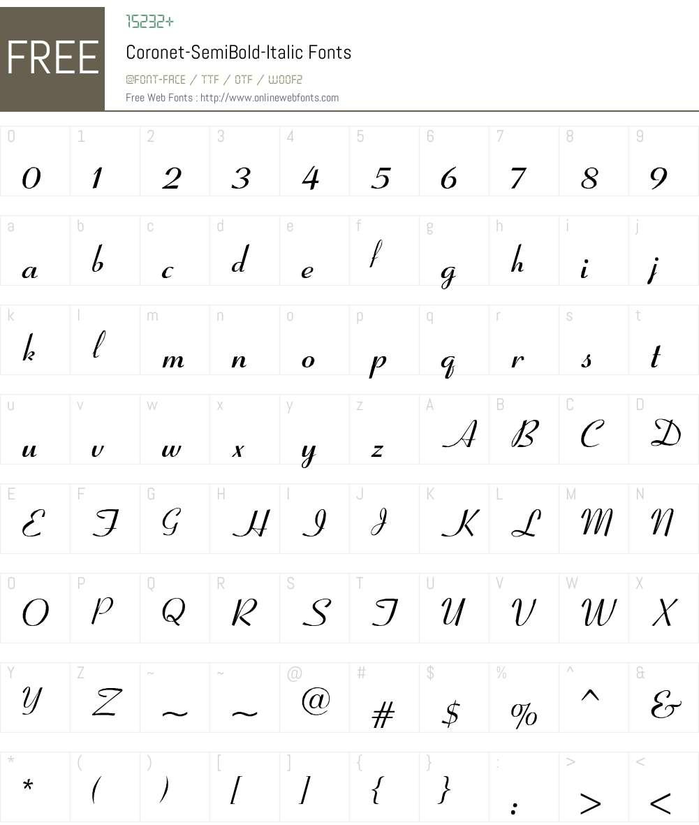 Coronet-SemiBold-Italic Font Screenshots