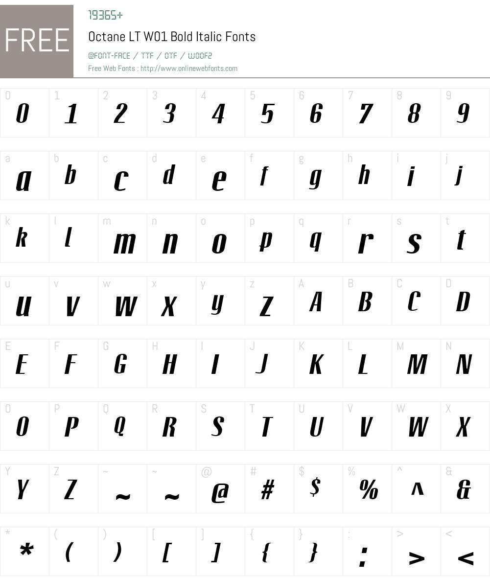 OctaneLTW01-BoldItalic Font Screenshots