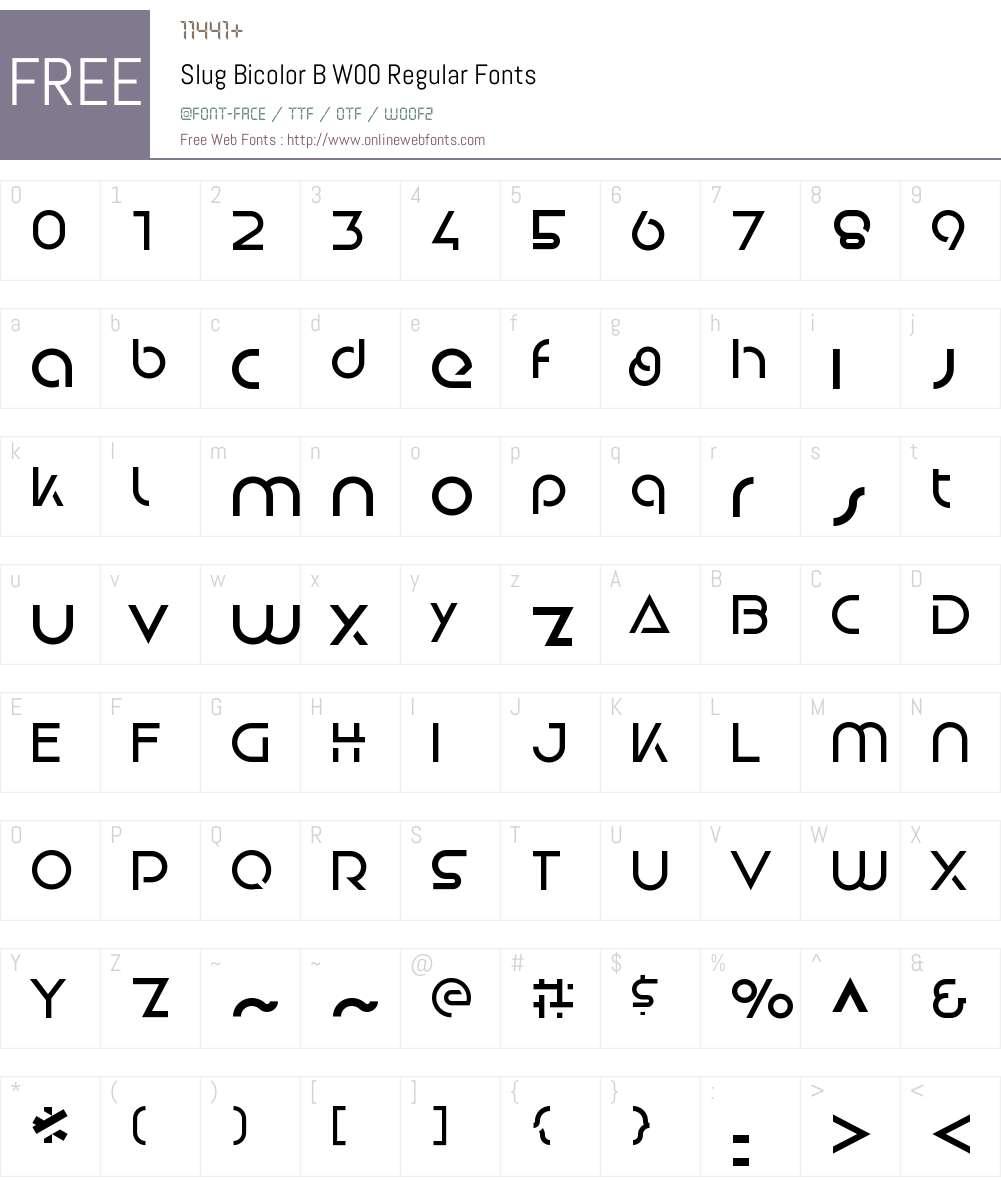 SlugBicolorBW00-Regular Font Screenshots