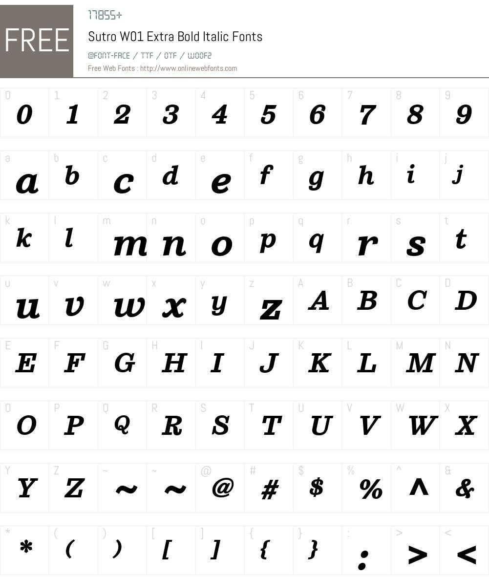 SutroW01-ExtraBoldItalic Font Screenshots
