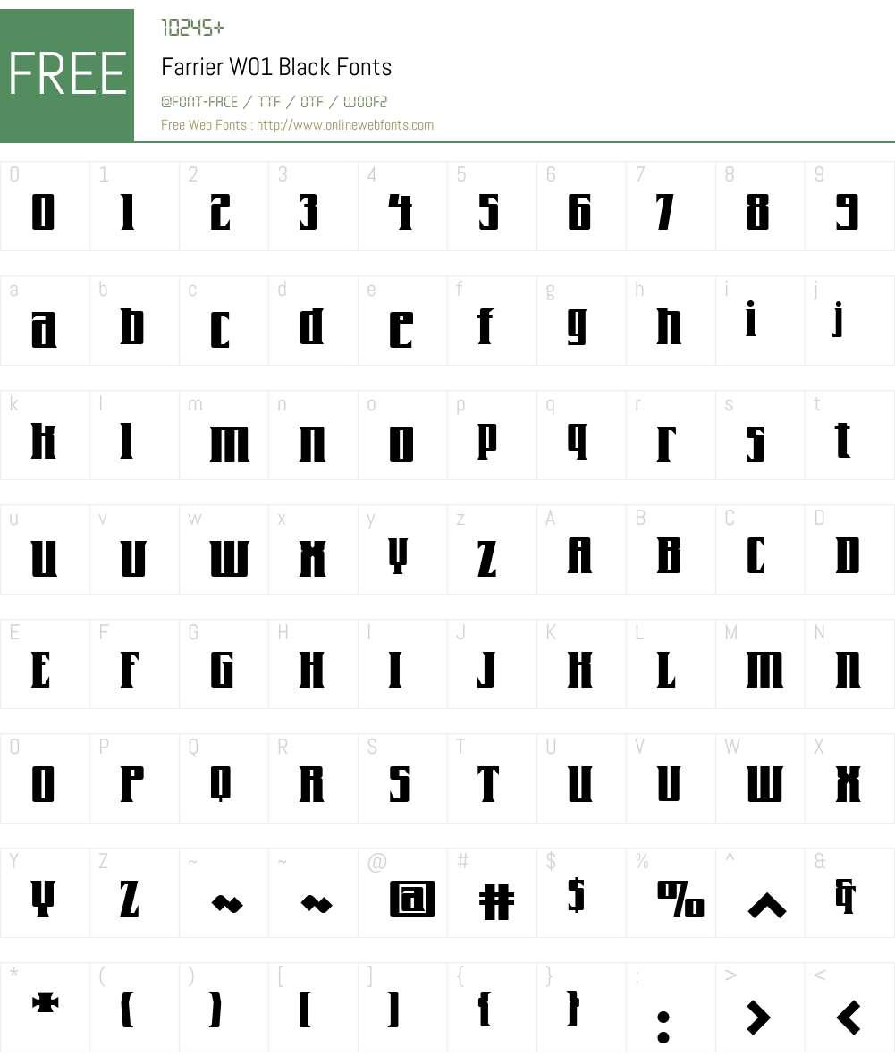 FarrierW01-Black Font Screenshots