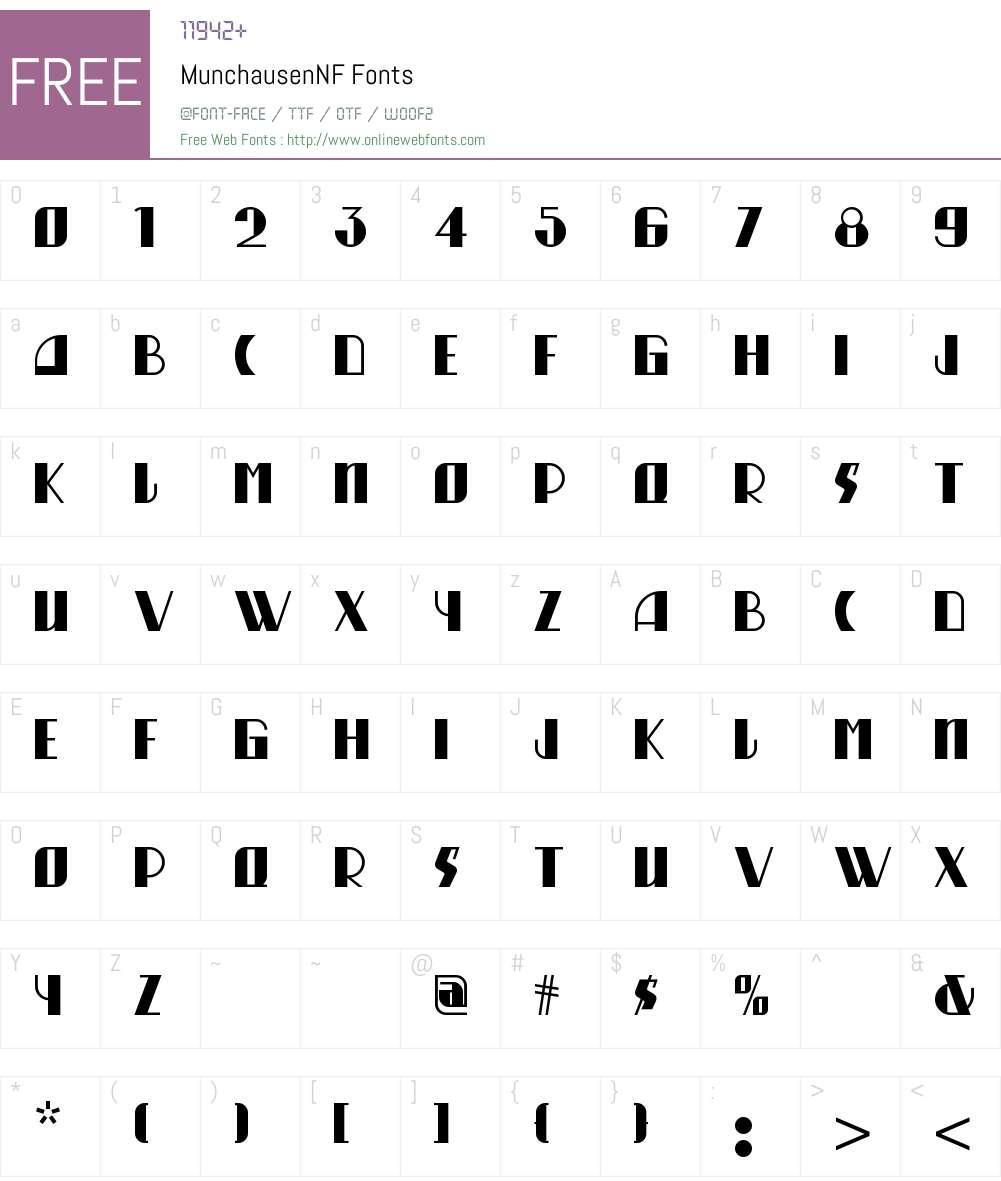 Munchausen NF Font Screenshots