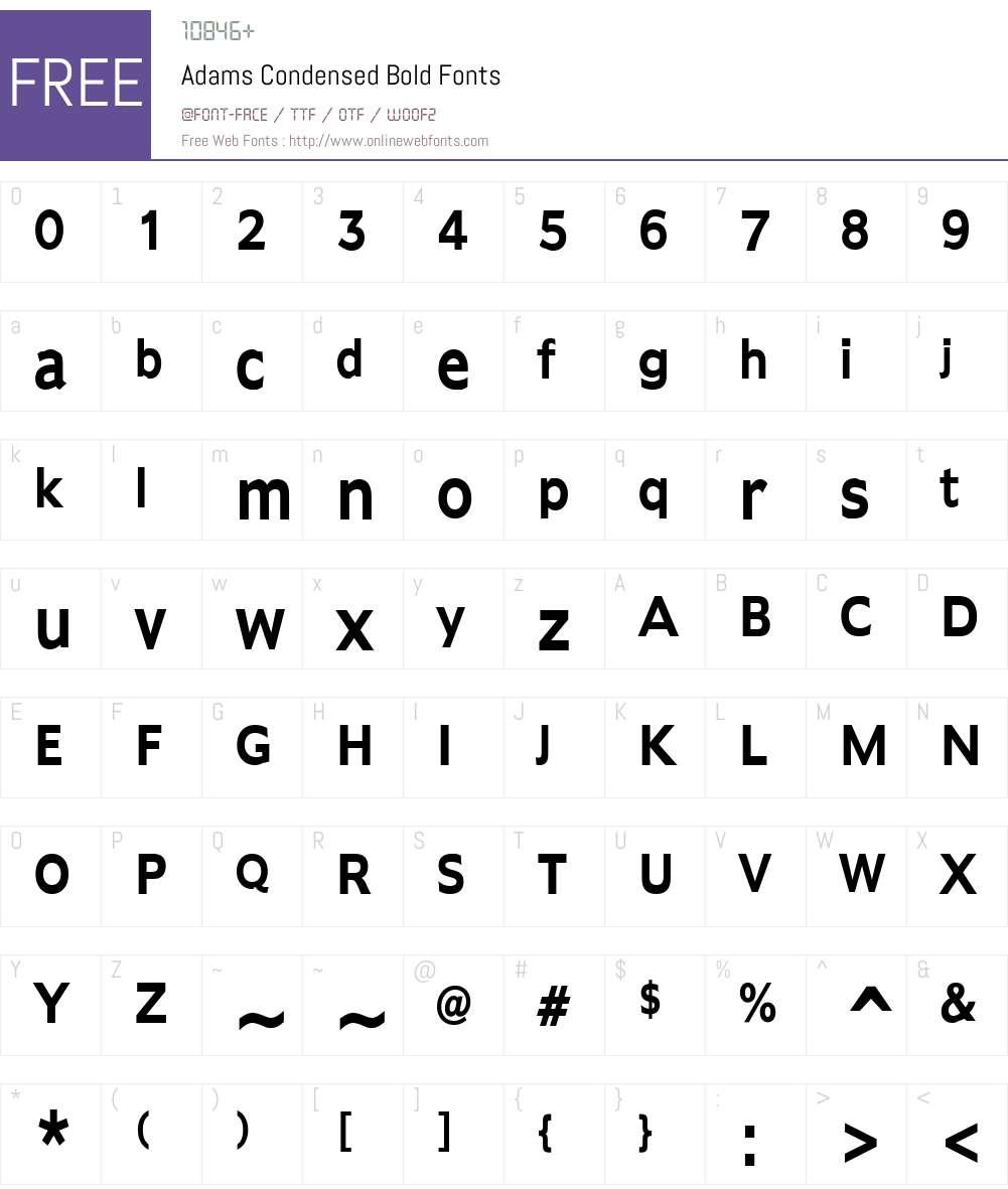 Adams Condensed Font Screenshots