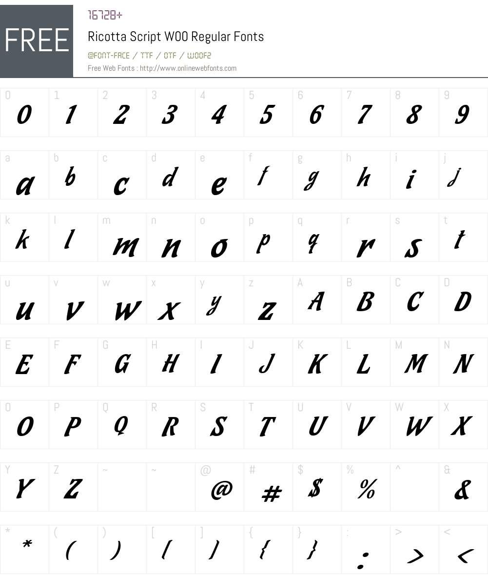 Ricotta Script Font Screenshots