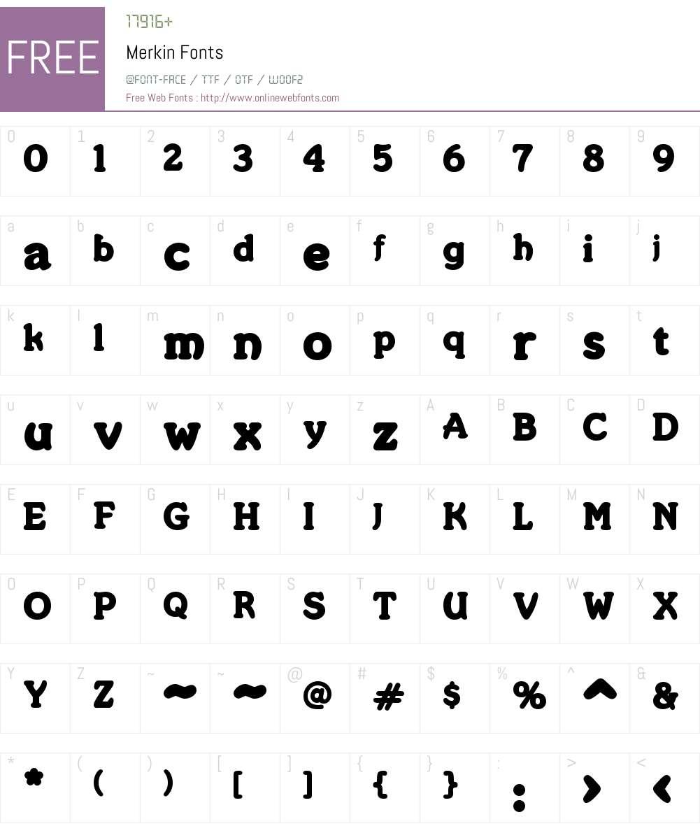 Merkin Font Screenshots