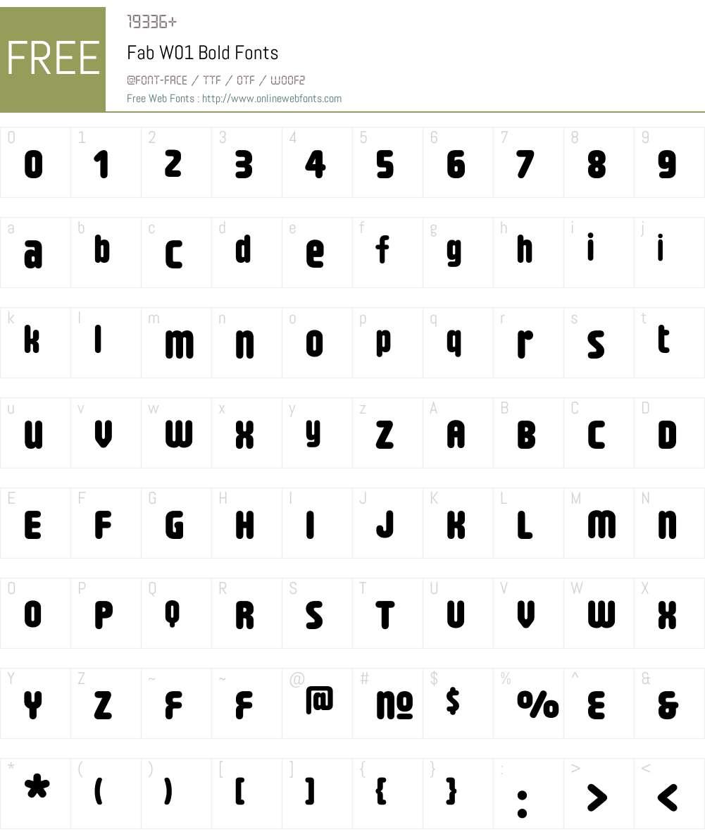 FabW01-Bold Font Screenshots