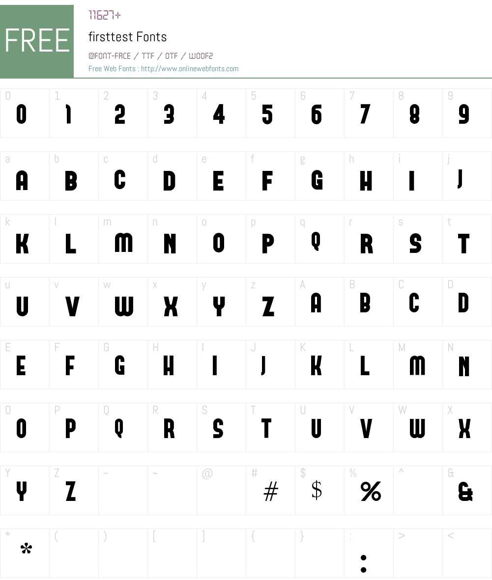 firsttest Font Screenshots