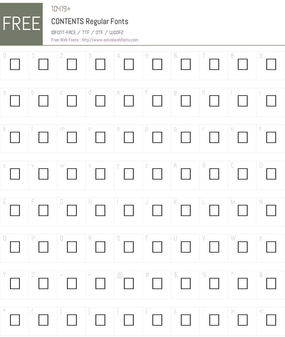 CONTENTS Font Screenshots