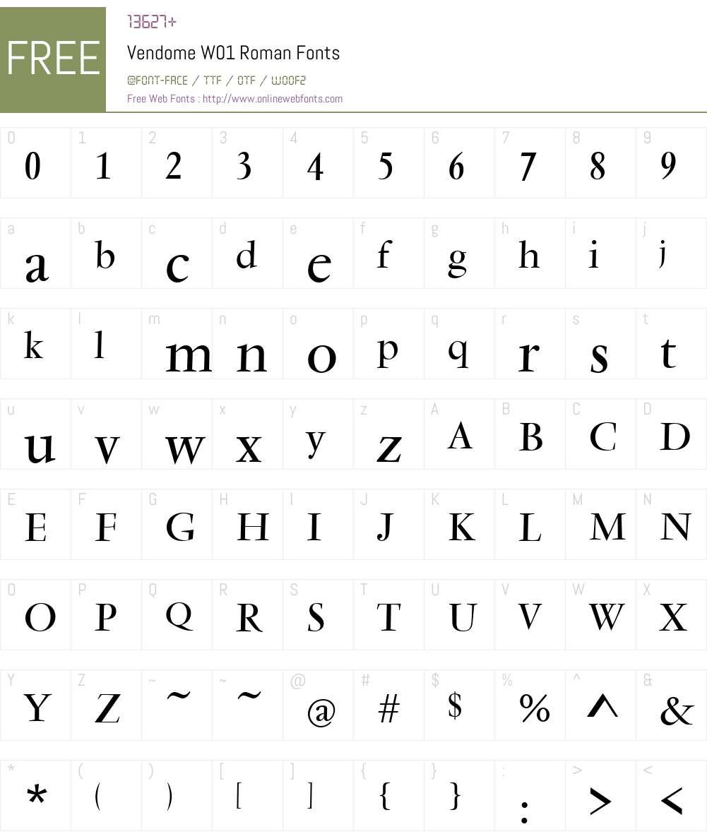 VendomeW01-Roman Font Screenshots