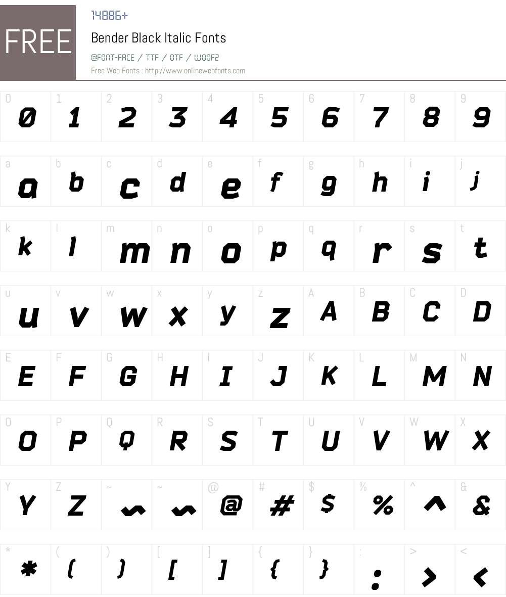 Bender Font Screenshots