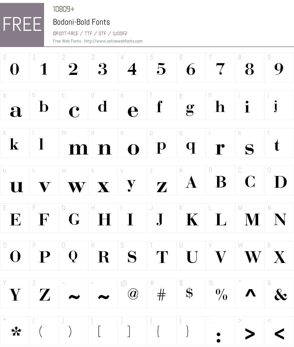 Bodoni-Bold Font Screenshots