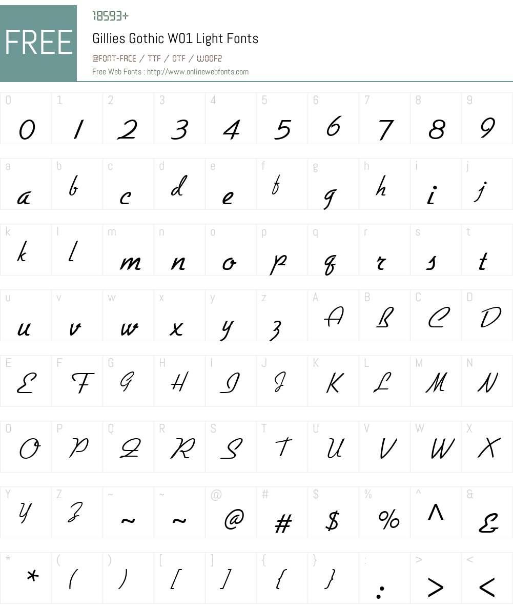 GilliesGothicW01-Light Font Screenshots