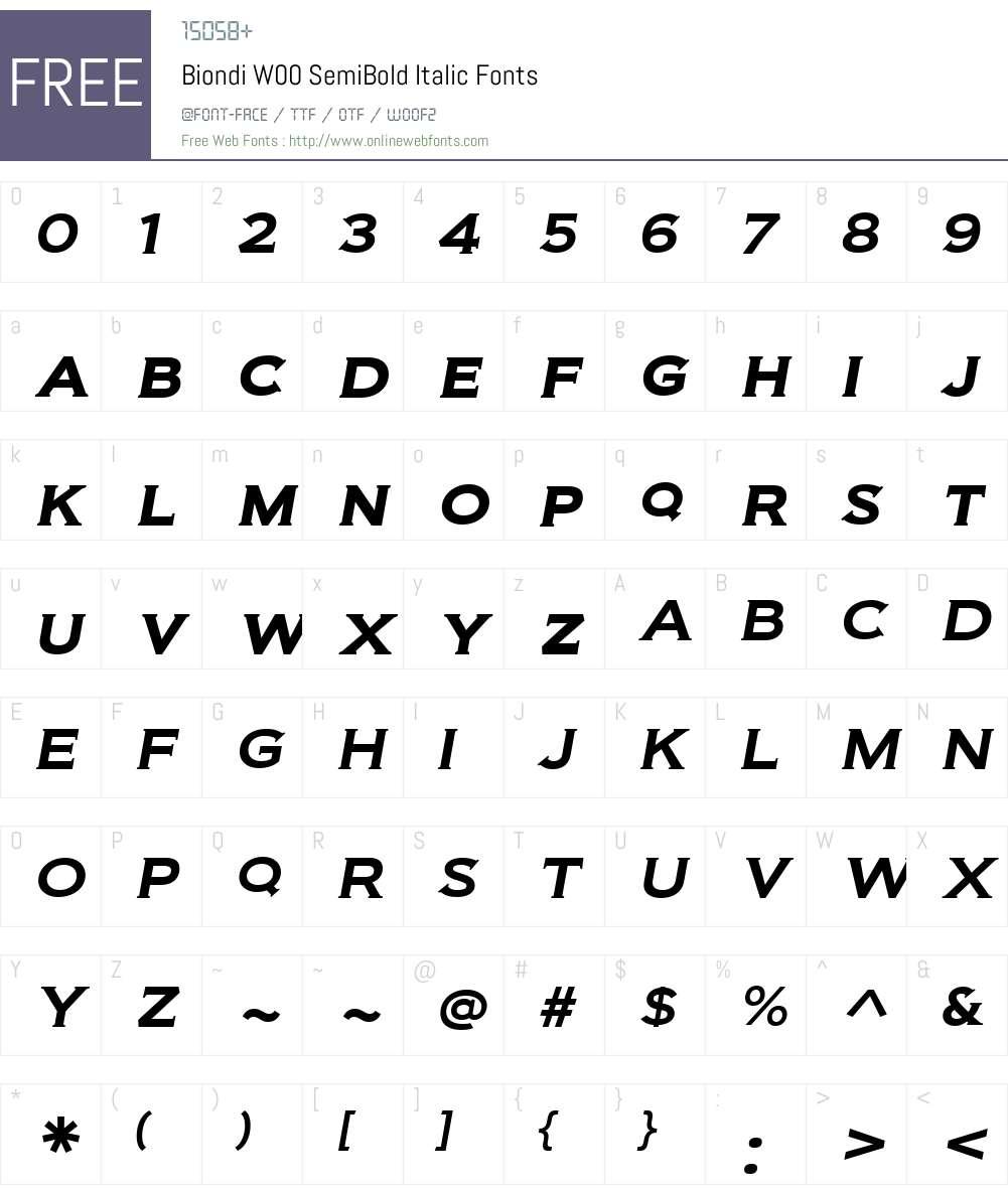 BiondiW00-SemiBoldItalic Font Screenshots