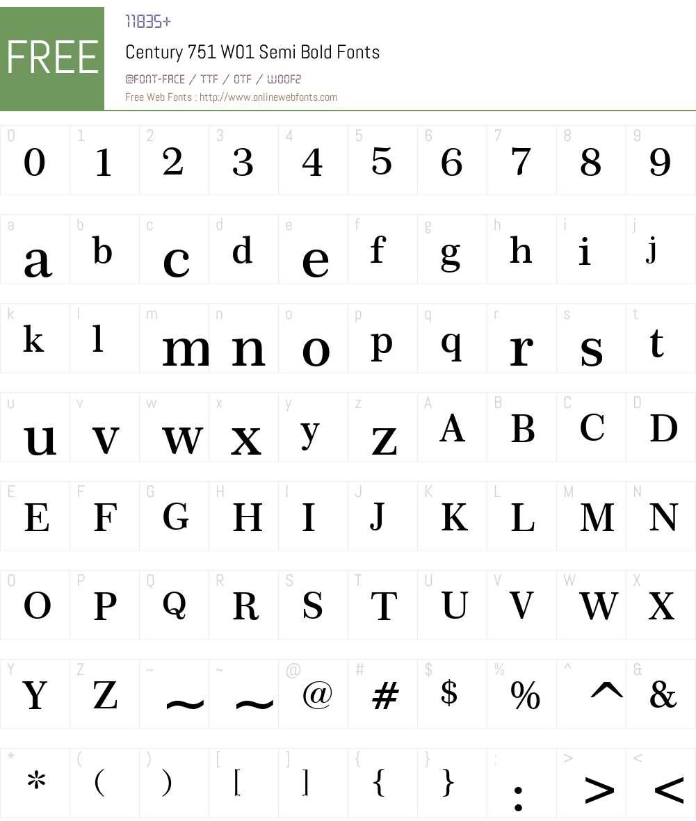 Century751W01-SemiBold Font Screenshots