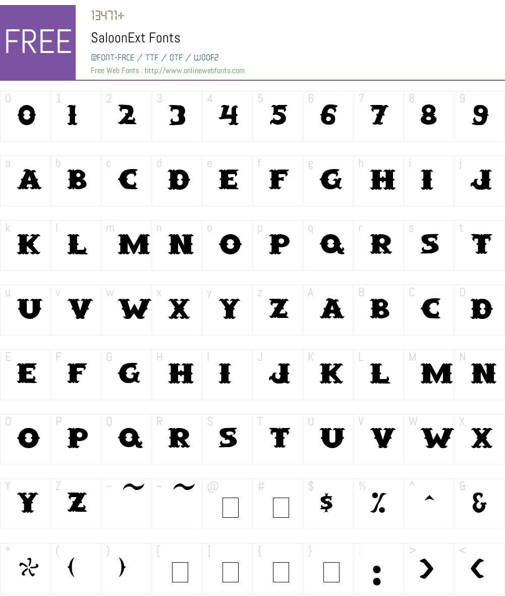 SaloonExt Font Screenshots