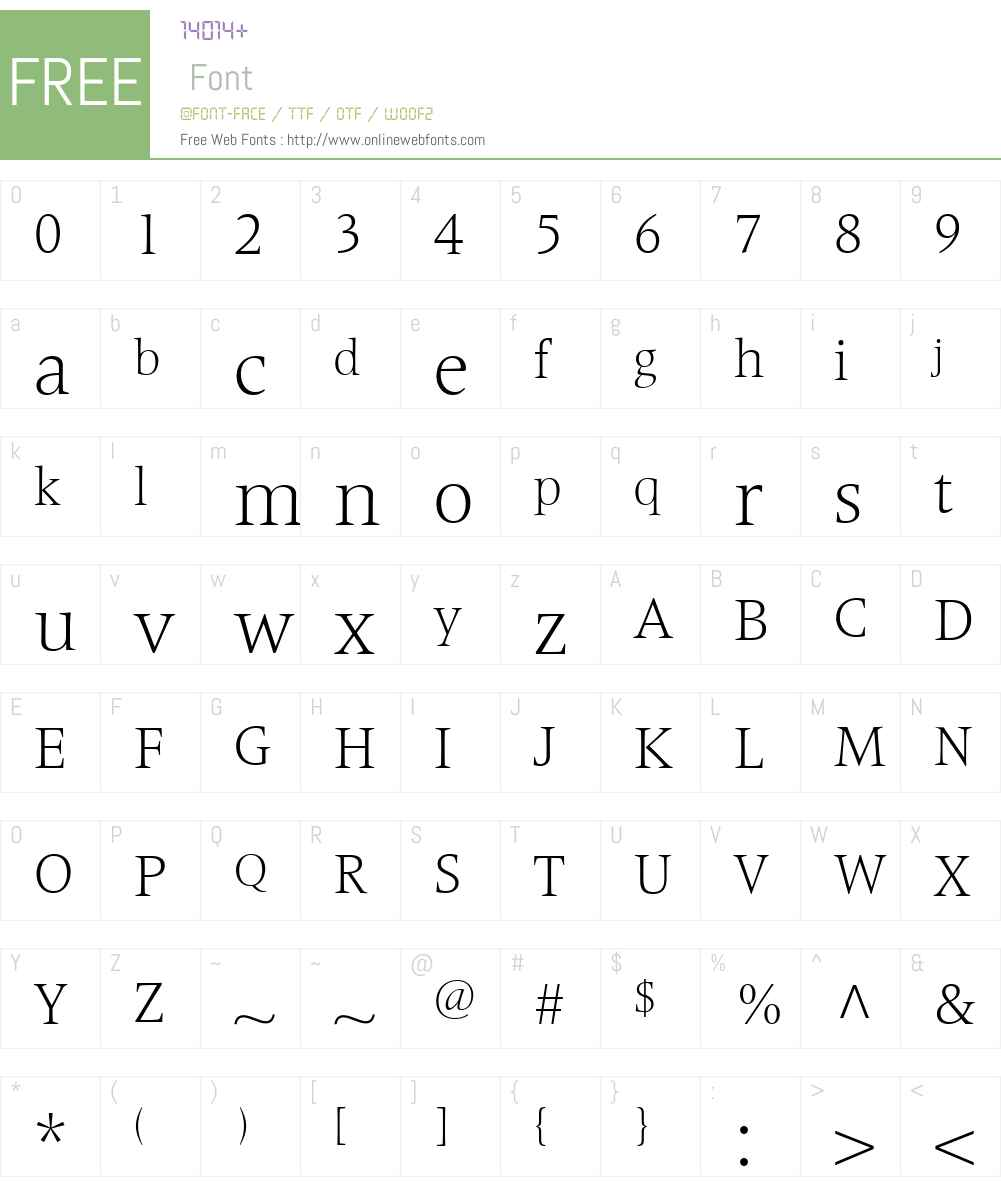FrutigerSerifLTW01-Light Font Screenshots